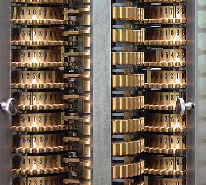 Closeup of the London Science Museum's difference engine.