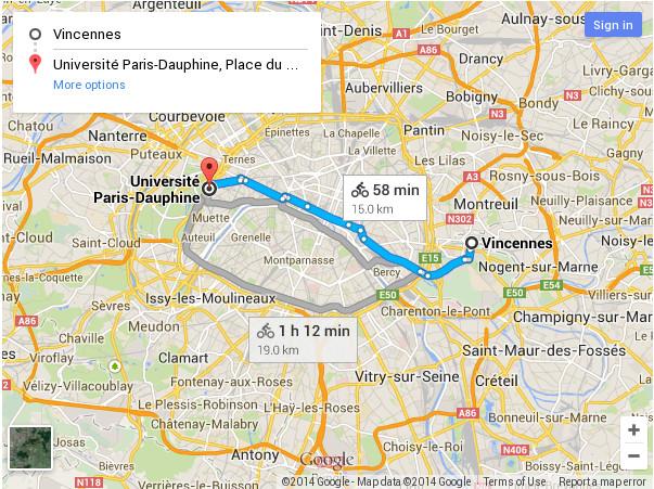 Vincennes - Dauphine par bois de Vincennes puis axe est-ouest