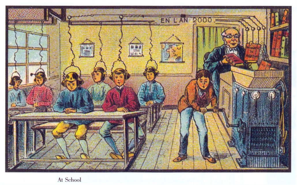 Carte postale par Jean-Marc Côté, dans la série En l'an 2000, 1899, popularisée par Isaac Azimov.