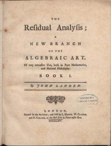John Landen manuscript (1719-1770)