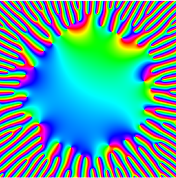 Phase portrait of reciprocal of characteristic polynomial of a high dimensional Ginibre matrix